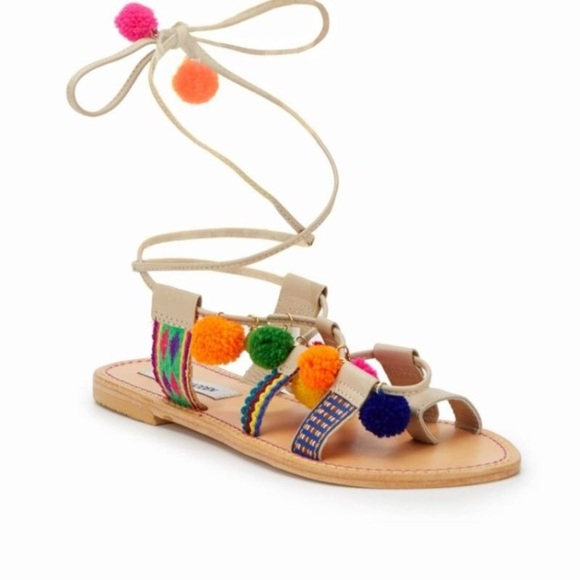 """0818f387ae8 Pom Pom Ankle Wrap Sandals. M 5af0e52661ca10134e148464. Other Shoes you may  like. 👡Steve Madden """" ..."""